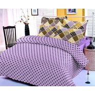 Purple cotton bedsheet with polka dotted print and two pillow covers