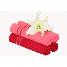 Maroon and Pink hand towel set with contrast border