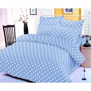 Blue and white polka dotted bedsheet with two pillow covers