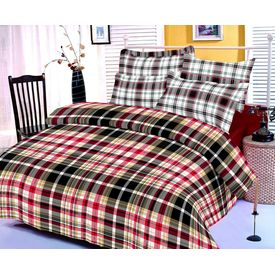 Black, red and white checks cotton bedsheet with two pillow covers