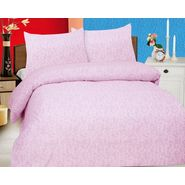 Leaf printed pink cotton bedsheet with teo pillow covers