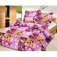 Leaf stem printed cotton bedhseet with two pillow covers