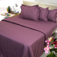 Purple color stripe cotton double bed sheet with two pillow covers