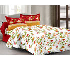 Welhouse Cotton Floral Double Bedsheet With 2 Contrast Pillow Covers(Tc-129), red
