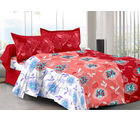 Welhouse & Floral Design Super Soft Cotton Double Bedsheet With 2 Contrast Pillow Cover-Best Tc-175, red