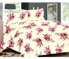 Welhouse Floral Design Cotton Double Bed Sheet With 2 Pillow Cover - Tc-140, cream