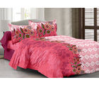 Welhouse Cotton Floral Double Bedsheet With 2 Contrast Pillow Covers(Tc-129), pink