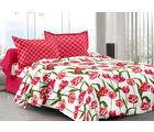 Welhouse & Floral Design Eco-Friendly Cotton Double Bedsheet With 2 Contrast Pillow Cover-Best Tc-175, red