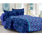 Welhouse & Floral Design Eco-Friendly Cotton Double Bedsheet With 2 Contrast Pillow Cover-Best Tc-175, blue