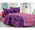 Welhouse & Floral Design Super Soft Feeling Double Bedsheet With 2 Contrast Pillow Cover-Best Tc-175, peach