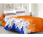 Welhouse Cotton Floral Double Bedsheet With 2 Contrast Pillow Covers(Tc-129), orange