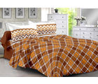 Welhouse & Checke Design Super Soft Cotton Double Bedsheet With 2 Contrast Pillow Cover-Best Tc-175, brown