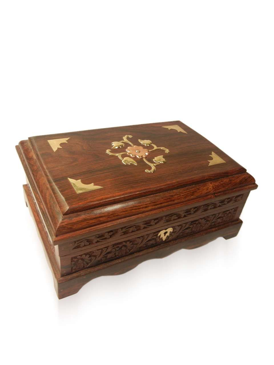 Wooden Antique Brass Work jewellery box - cpwdbojb00020