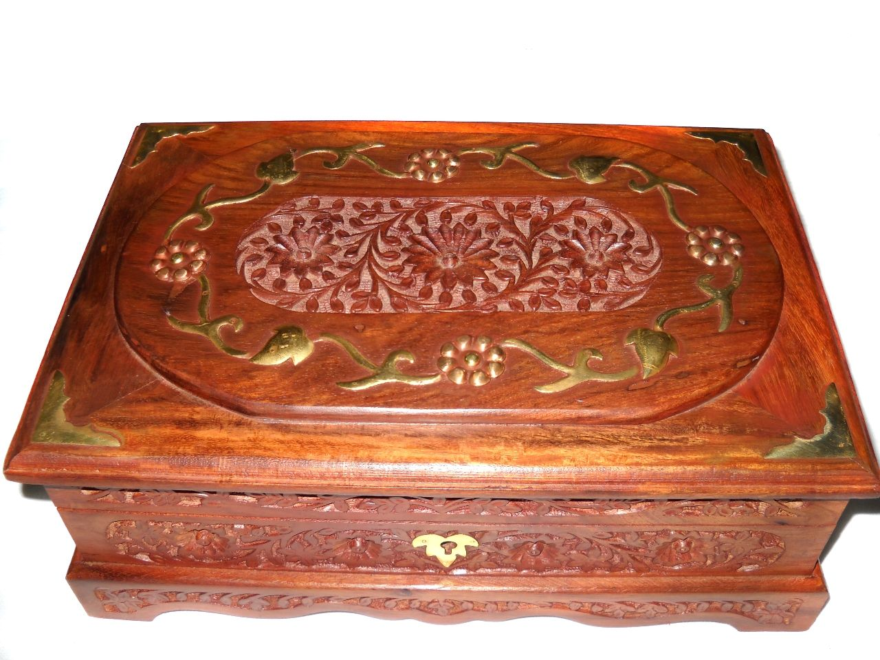 Customisable Decorative Wooden Handcarved Jewellery Box - cpwdbojb00002