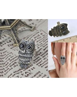 Owl Resizeable Ring in Antique Gold and Antique Silver, antique gold
