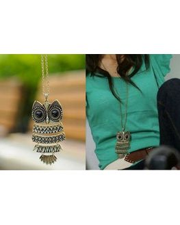 Cute Owl Pendant, antique gold