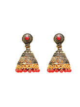 Charvee Temple Jhumki Earrings With Beads (Red)