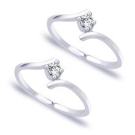 Delightful White Stone Silver Toe Ring-TR152