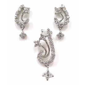 Beautiful White Zircon Silver Pendant Set-PDS003