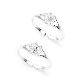 Charming Flower Silver Toe Ring-TR323