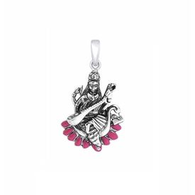 Goddess Saraswati Silver Pendant-PD049