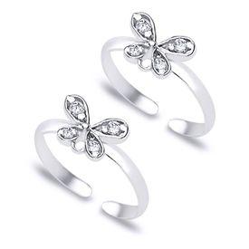 Pretty White Zircon Butterfly Silver Toe Rings-TR154