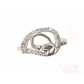 Nice White Zircon Finger Silver Ring-FRL018
