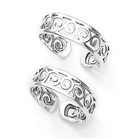 Graceful Cut Work Silver Toe Ring-TR277