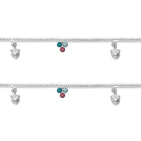 Magnificent Chain & Colour CZ Anklets-ANK051