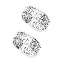 Pretty Cut Work Silver Toe Ring-TR270
