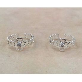 Alluring Heart & White Stone Toe Ring-TR288