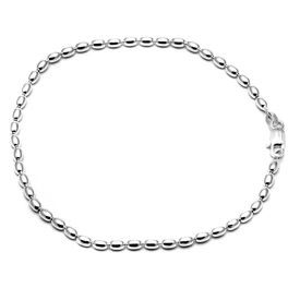 Glittering Pearl Shaped Silver Anklets-ANK004