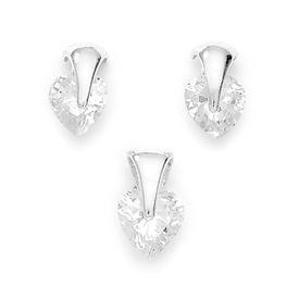 Lovely Heart Shape Zircon Silver Pendant Set-PDS006