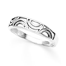 Contemporary Cutwork Silver Finger Ring-FRL044