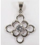 White Stone Studded Pendant-PD014