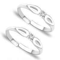 Lovely White Stone Silver Toe Ring-TR251