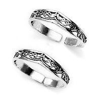 Graceful Cutwork Silver Toe Ring-TR218