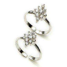 Adorable Zircon Studded Silver Toe Ring-TR157