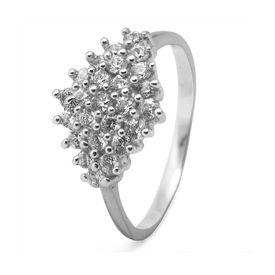 Classy White Zircon Silver Ring-FRL021, 12