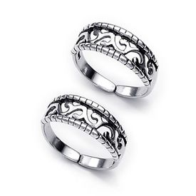 Graceful Cut Work Silver Toe Ring-TR226
