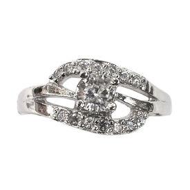 Fair White Zircon Silver Finger Ring-FRL005