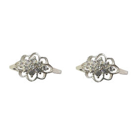 Stone Studded Silver Toe Ring-TOER002