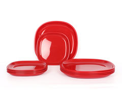 Gluman Microwave Safe Dinner Plate Set - 12 Pcs Square Red