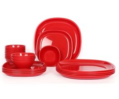 Gluman Microwave Safe Dinner Set - 24 Pcs Square Red