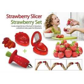 STRAWBERRY COMBO SET STEM LEAVES HULLER REMOVER CORER KITCHEN CUTTER SLICER