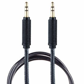Surya 3.5mm AUX in Cord Auxiliary Audio Cable for Car[ 6 ft Nylon] 3.5 mm Male to Male 1/8 Stereo Wire w/Sheilded Connector Black