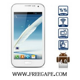 Freegape Brand i7100 Android 4.0 Smartphone with Dual SIM MTK6515 5.0 inch WVGA Screen Analog TV (White)