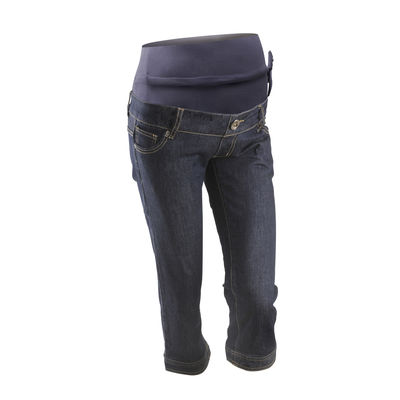 Comfort wear maternity jeans with adjustable bump support
