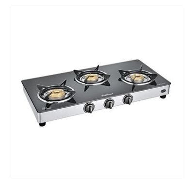 Sunflame Classic 3 Burner Auto Ignition SS Gas Stove,  silver