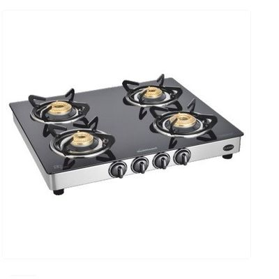 Sunflame Classic 4 Burner Auto Ignition SS Gas Stove,  silver